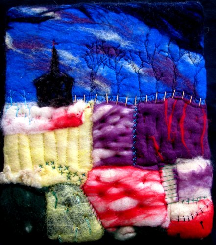 Church Amongst The Fields Felted Wall Hanging