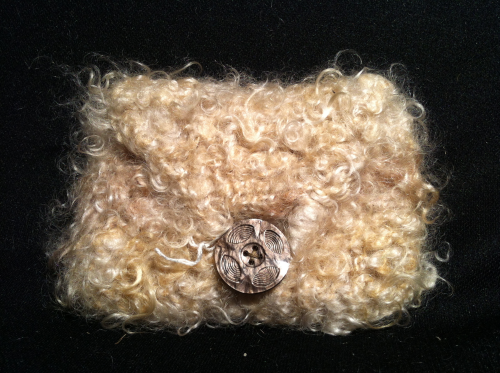 Mohair Knitted Purse Brown