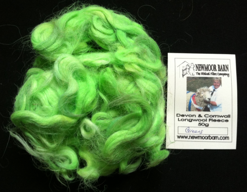 Devon & Cornwall Longwool Loose Fleece Greens 50g