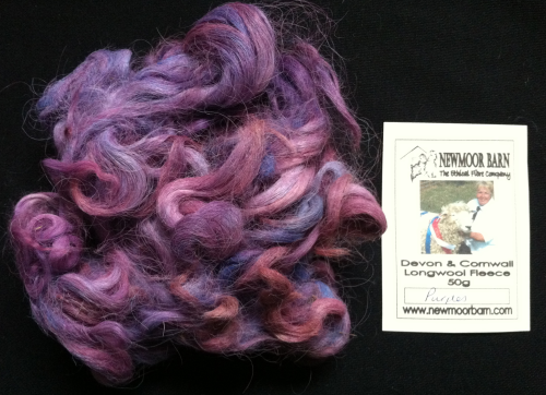 Devon & Cornwall Longwool Loose Fleece Purples 50g