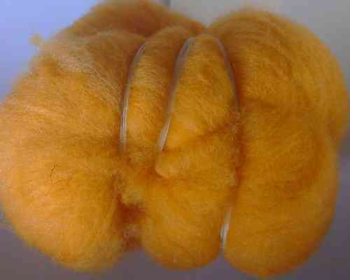 Texal Bright Orange Carded Wool 50g