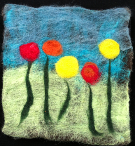 Flowers Red and Yellow Felt Wall Hanging