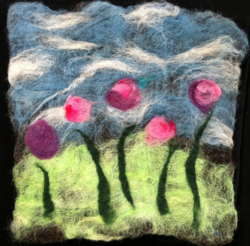 Flowers Pink and Purple Felt Wall Hanging