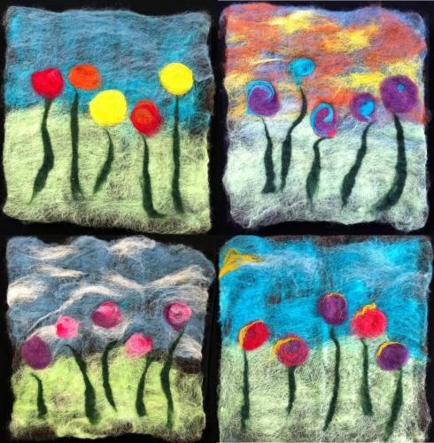 Flowers Collection of 4 Wall Hangings