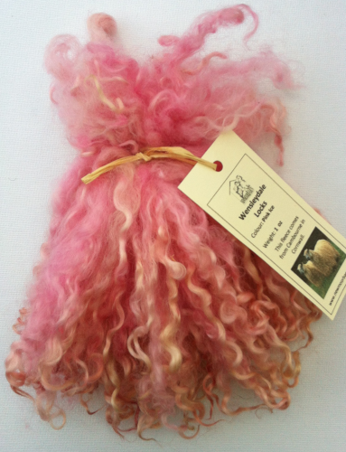 .Wensleydale Locks for Doll making in Pink Ice 1 oz