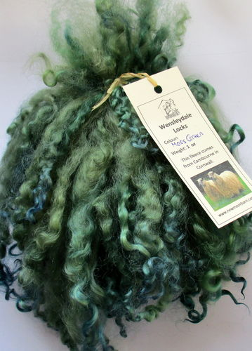 .Wensleydale Locks for Doll making in Moss Green 1 oz