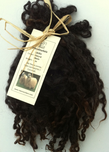 ,Wensleydale Locks for Doll making in Undyed Black 1 oz