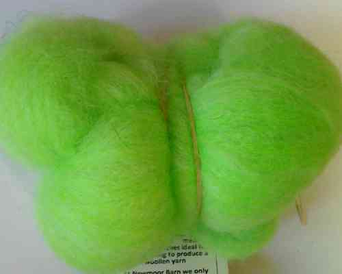 Texal Bright Green Carded Wool 50g