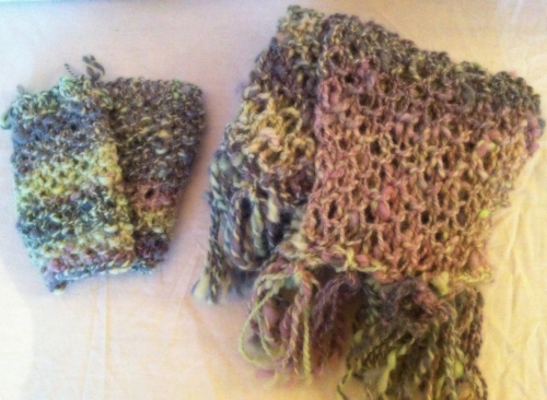 Supersoft Pink Metal Alpaca Scarf and Mitten Set