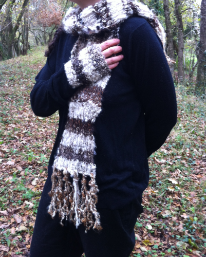 Brown and White Striped Mohair Scarf and Mitten Set