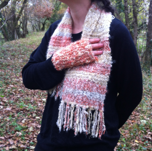 Burnt Orange Striped Mohair Scarf and Mitten Set