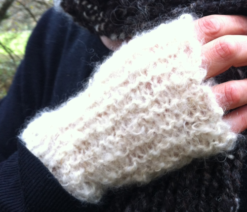 Fingerless White Mohair Mittens