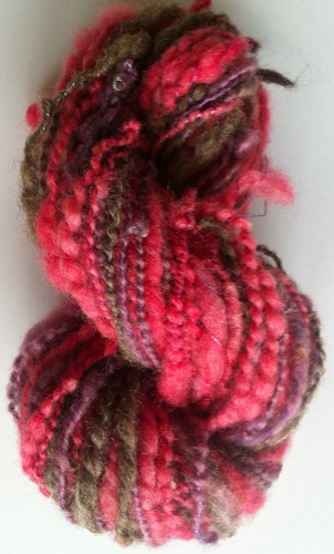 Spiralled Thick n Thin Pink& Purple 2 ply Yarn for Doll Hair