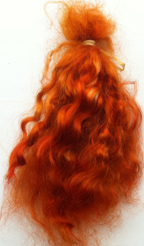 Premium Conditioned Wavy Locks of Bright Auburn Mohair Medium Auburn Shades
