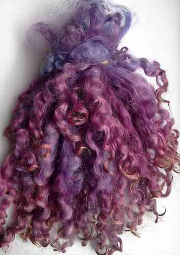 .Teeswater Locks in Shades of Purple for Doll making 1 oz