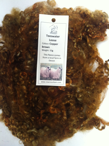 50g Teeswater Loose Fleece in Copper Brown