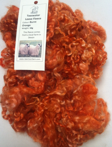 50g Teeswater Loose Fleece in Burnt Orange