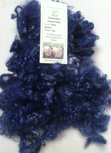 50g Teeswater Loose Fleece in Blue Denim