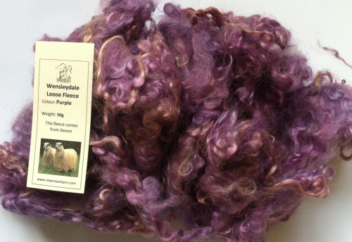 Wensleydale Loose Fleece Doll making in Purple Ice 50g
