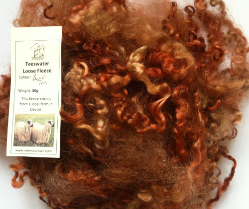 50g Teeswater Loose Fleece in Burnt Tan