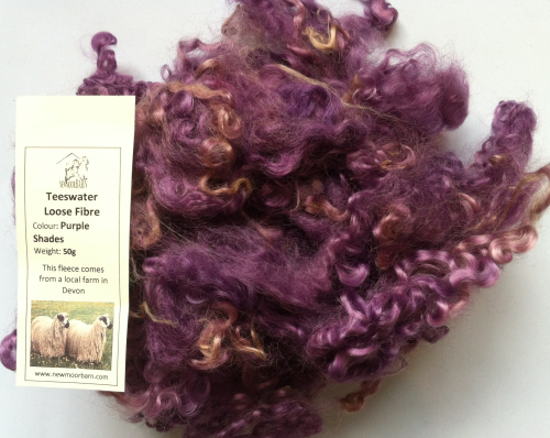 50g Teeswater Loose Fleece in Purple Shades