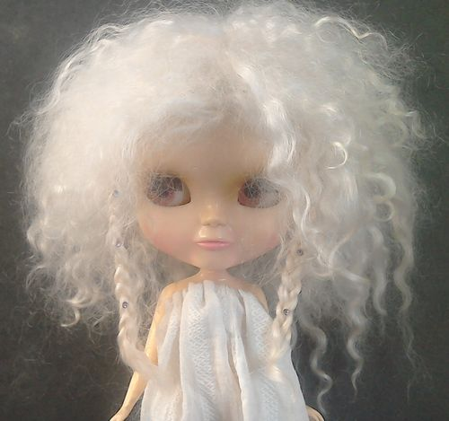 .Blythe Winter Princess - White Mohair with Plaits